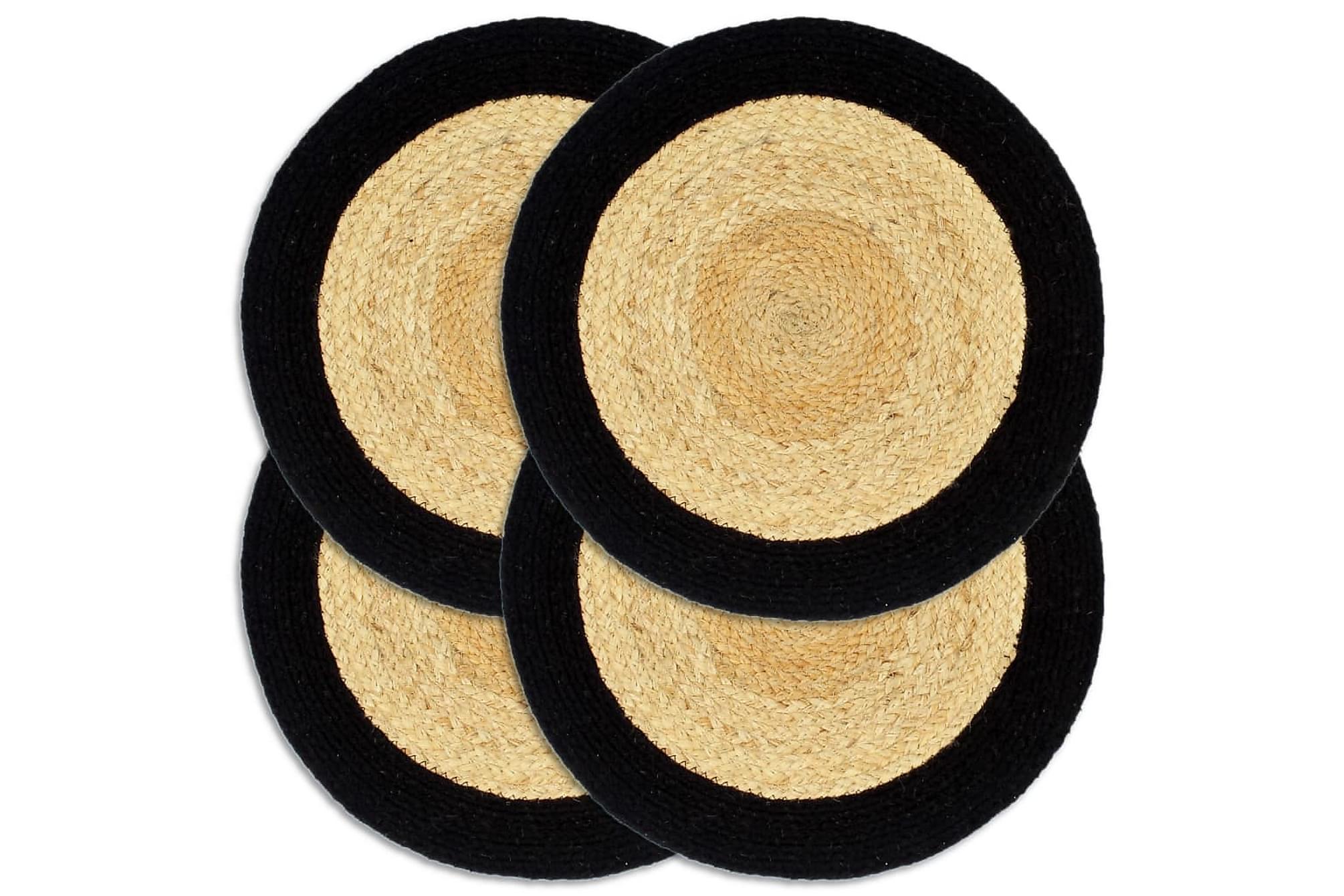Bordstabletter 4 st naturlig och svart 38 cm jute och bomull, Kökstextilier