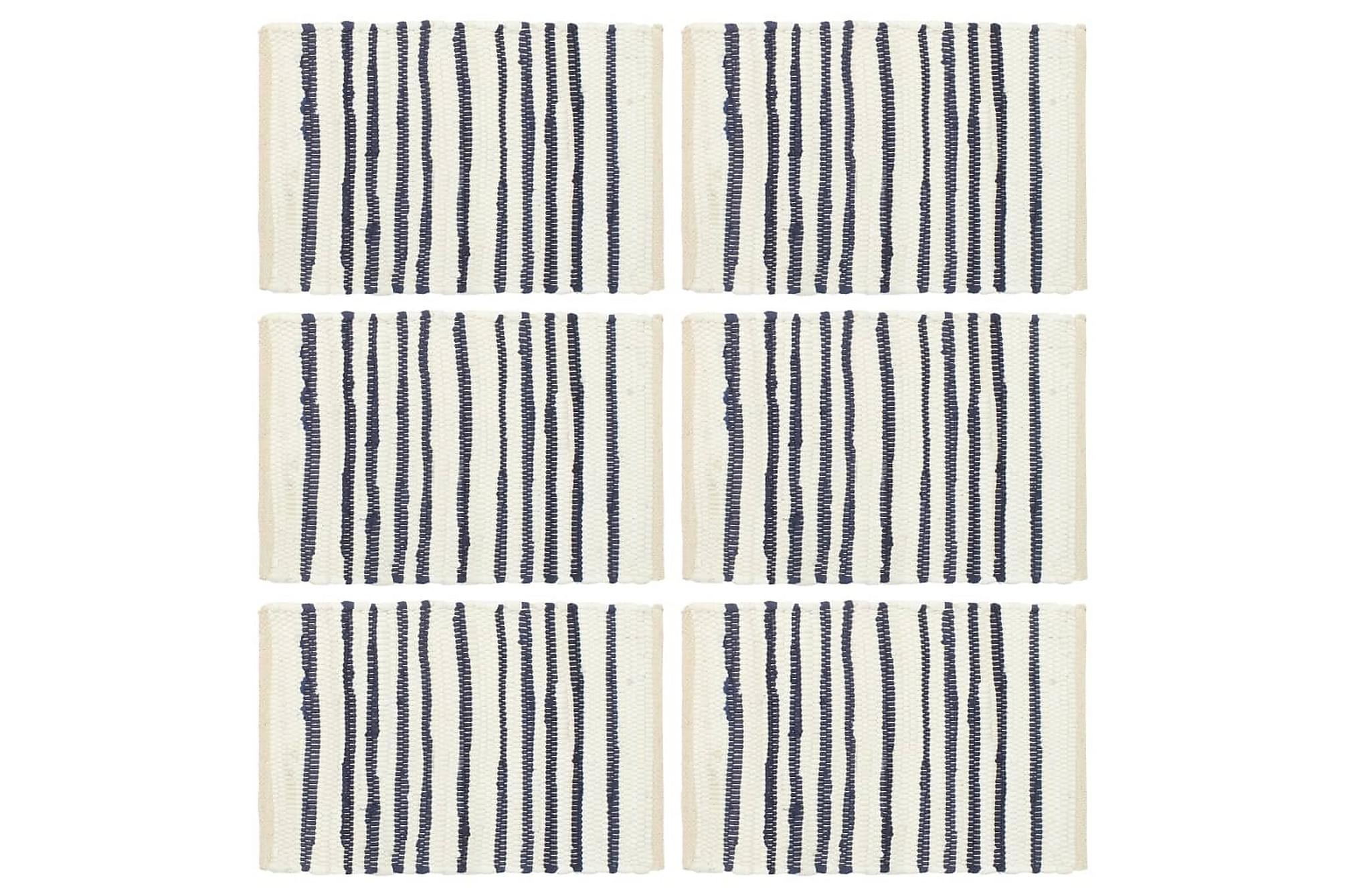 Bordstabletter 6 st blå och vit 30x45 cm bomull, Kökstextilier