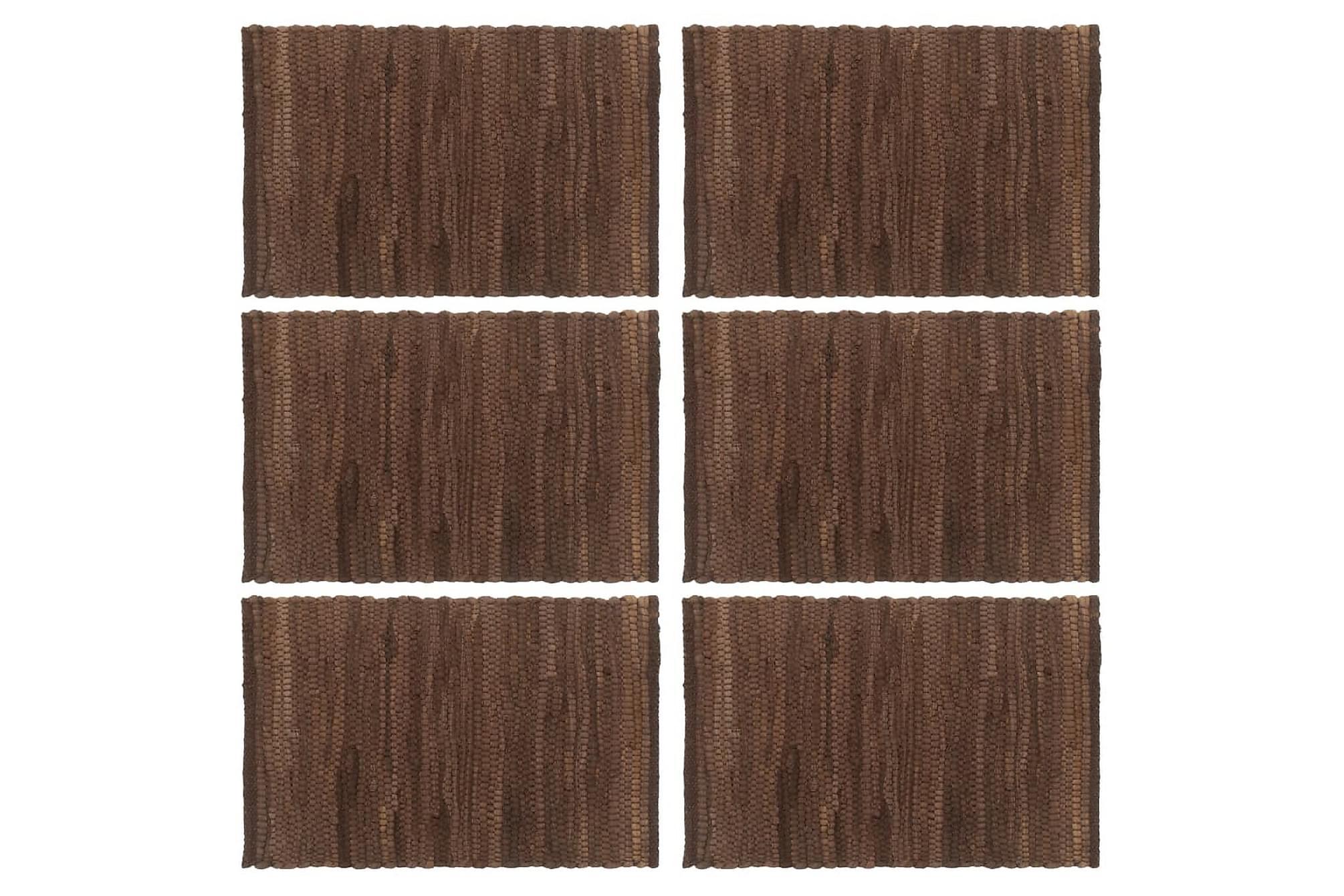 Bordstabletter 6 st chindi brun 30x45 cm bomull, Kökstextilier