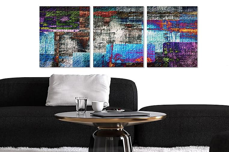 CANVASTAVLA Abstract 3-pack Flerfärgad 20x50 cm - Möbler & Inredning - Inredning - Posters & tavlor