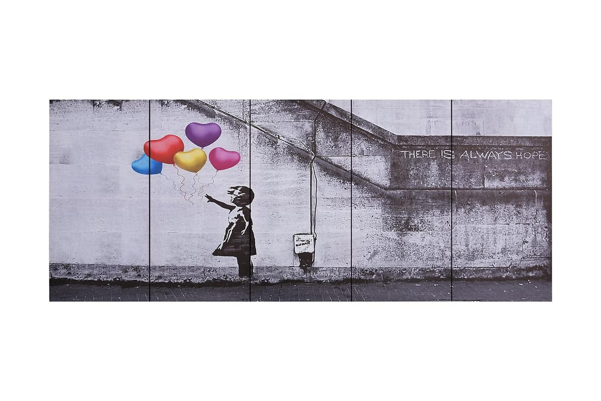 Canvastavla barn med ballonger flerfärgad 200x80 cm, Posters & tavlor