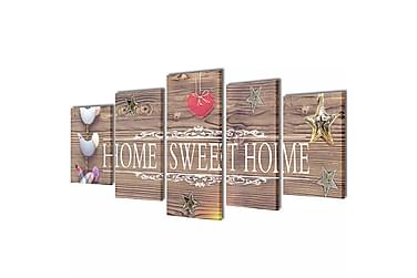 Canvastavlor set om 5 Home Sweet Home 100 x 50 cm