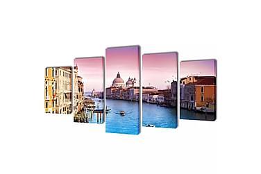 CANVASTAVLOR set om 5 Venedig 200 x 100 cm