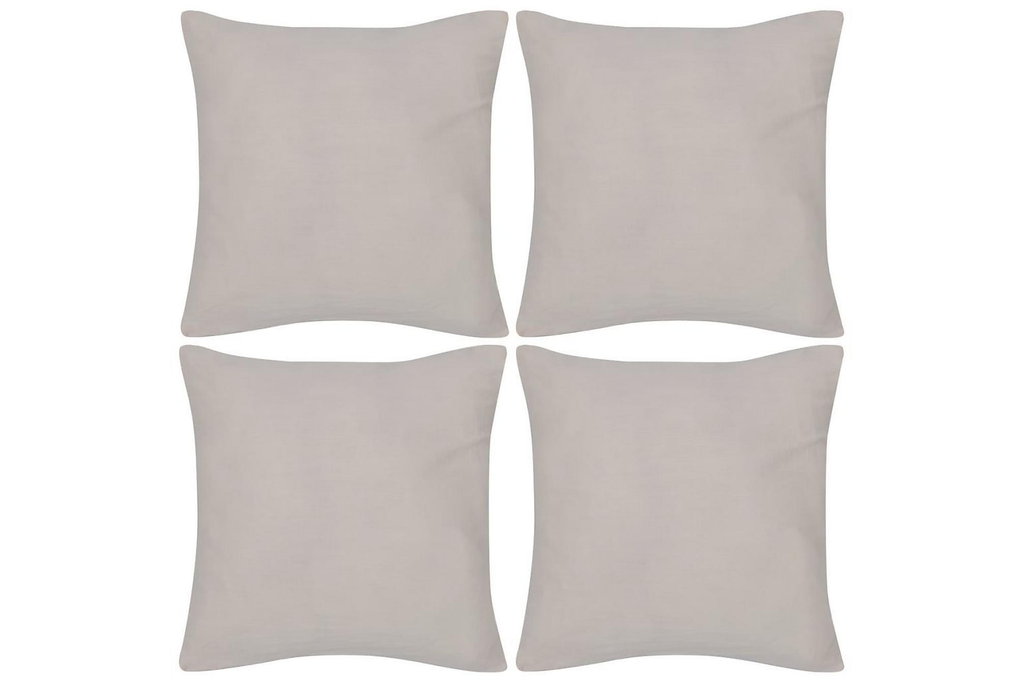 4 Kuddöverdrag i bomull beiga 50 x 50 cm, Prydnadskuddar & filtar