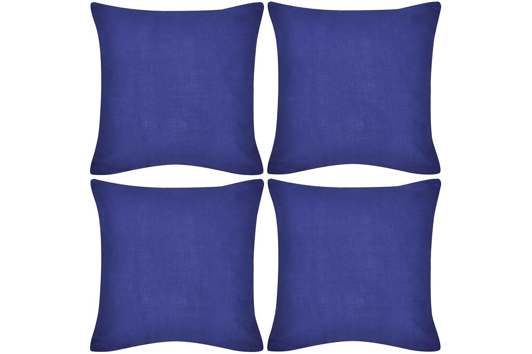4 Kuddöverdrag i bomull blåa 80 x 80 cm, Prydnadskuddar & filtar
