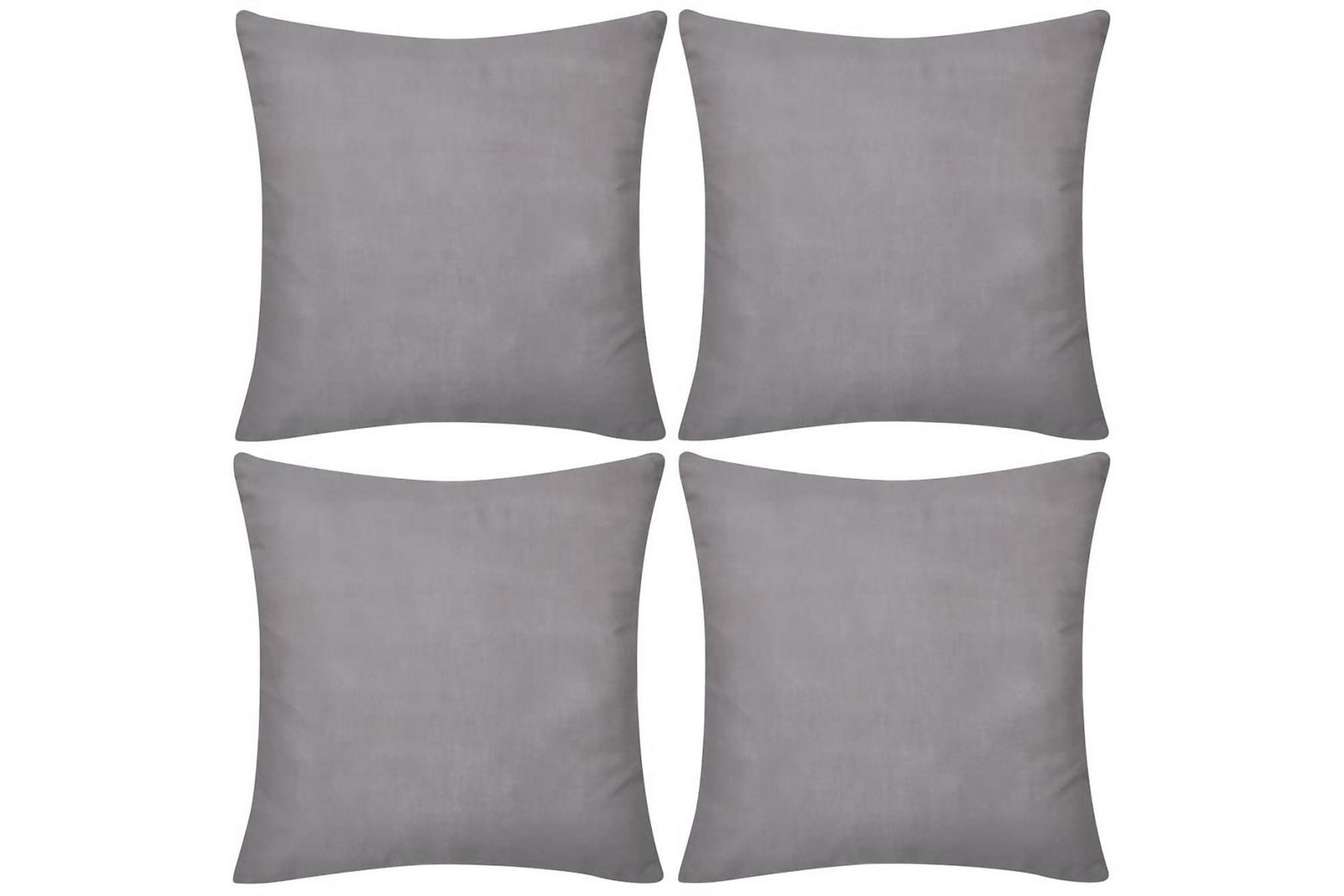 4 Kuddöverdrag i bomull gråa 40 x 40 cm, Prydnadskuddar & filtar