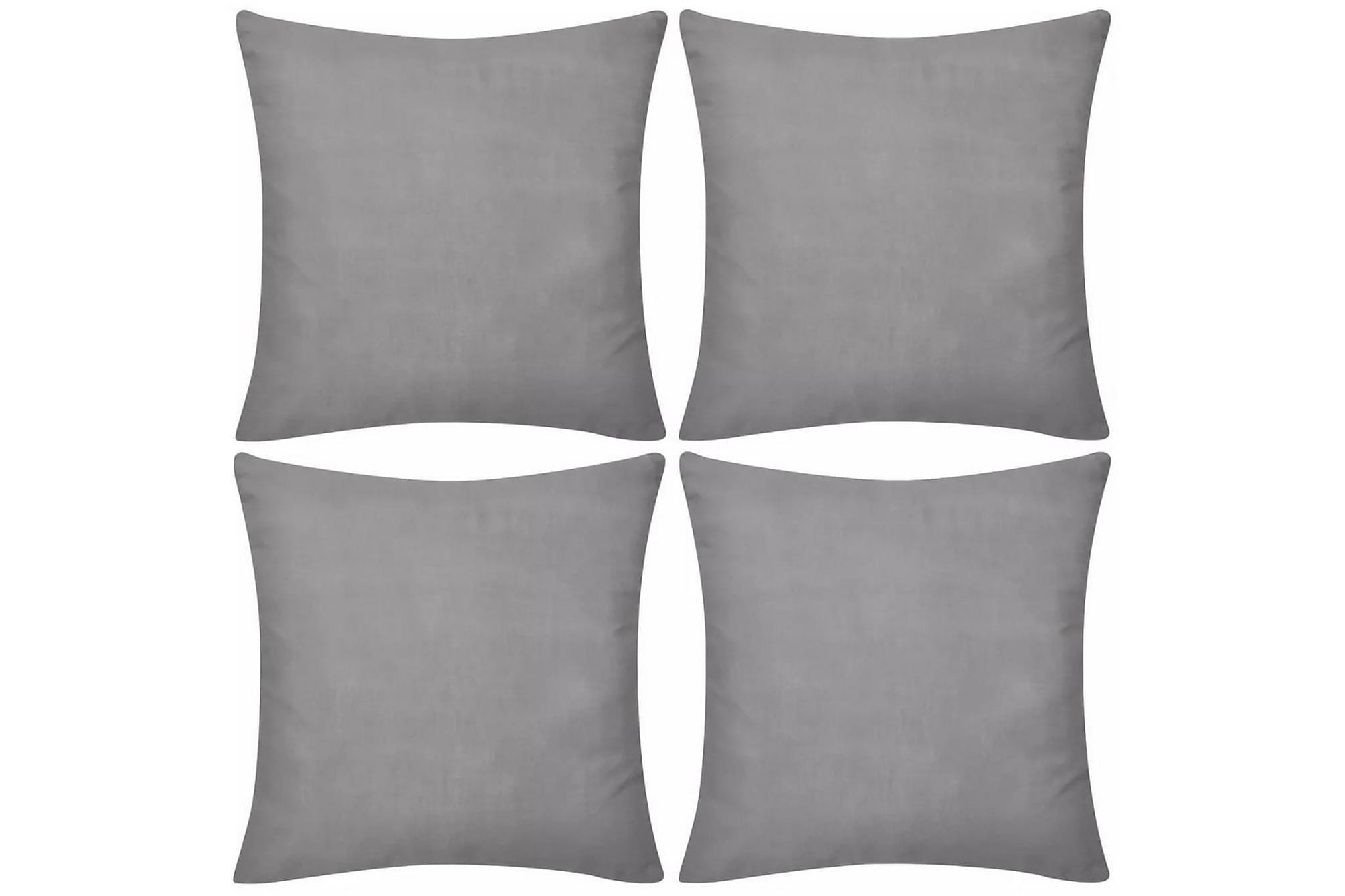 4 Kuddöverdrag i bomull gråa 50 x 50 cm, Prydnadskuddar & filtar