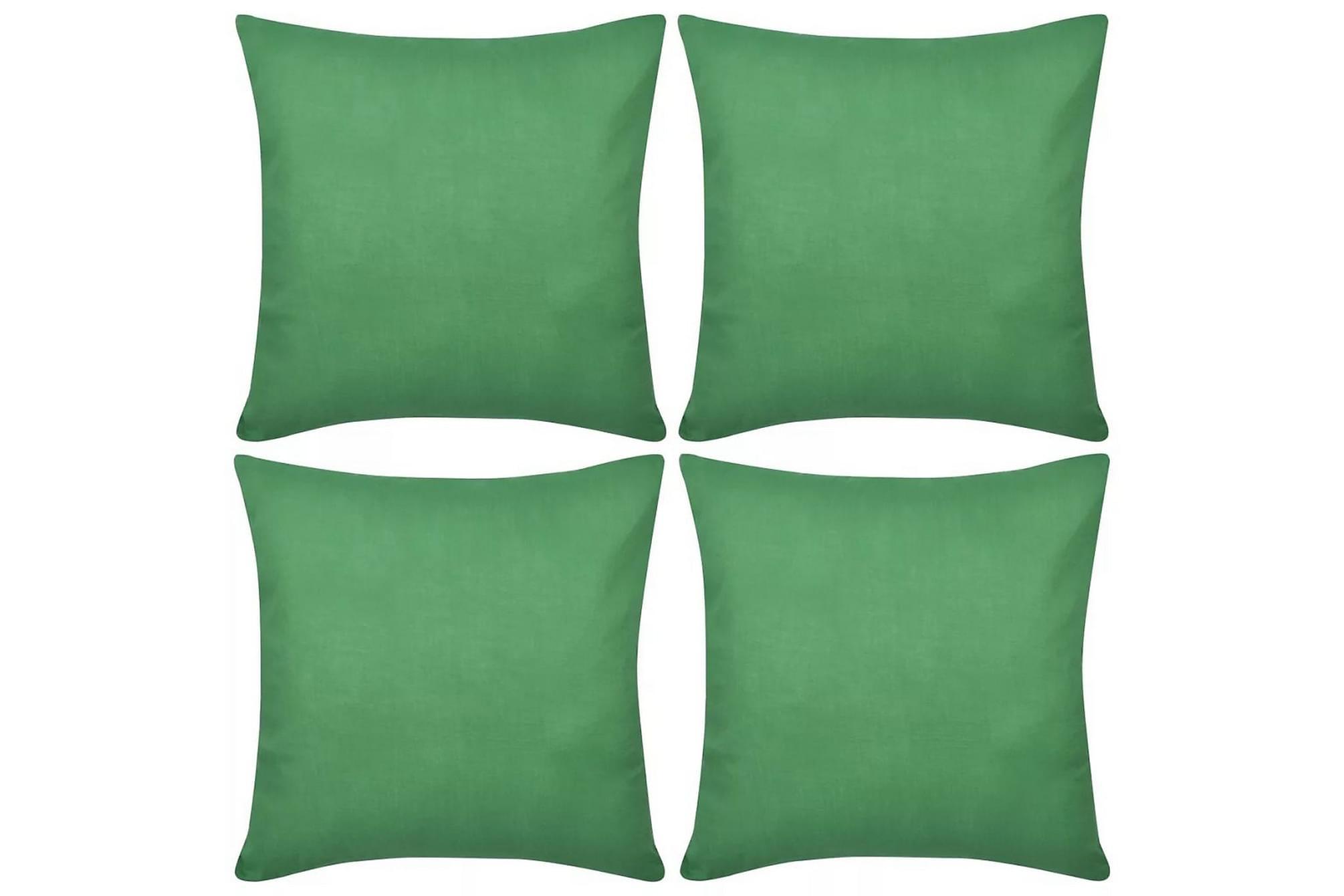 4 Kuddöverdrag i bomull gröna 50 x 50 cm, Prydnadskuddar & filtar