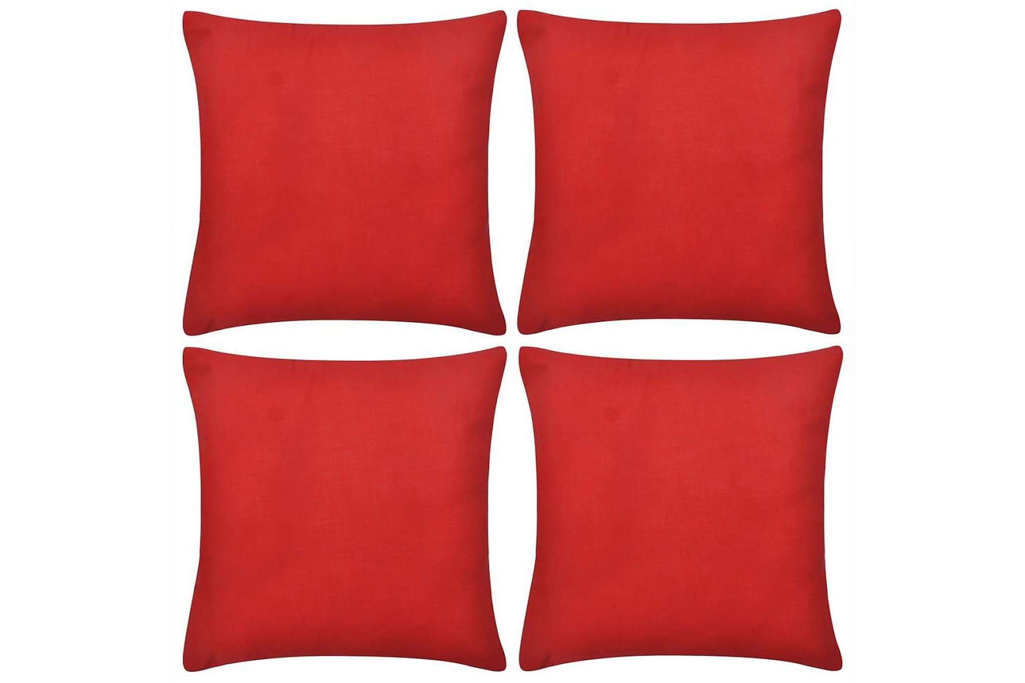 4 Kuddöverdrag i bomull röda 80 x 80 cm, Prydnadskuddar & filtar