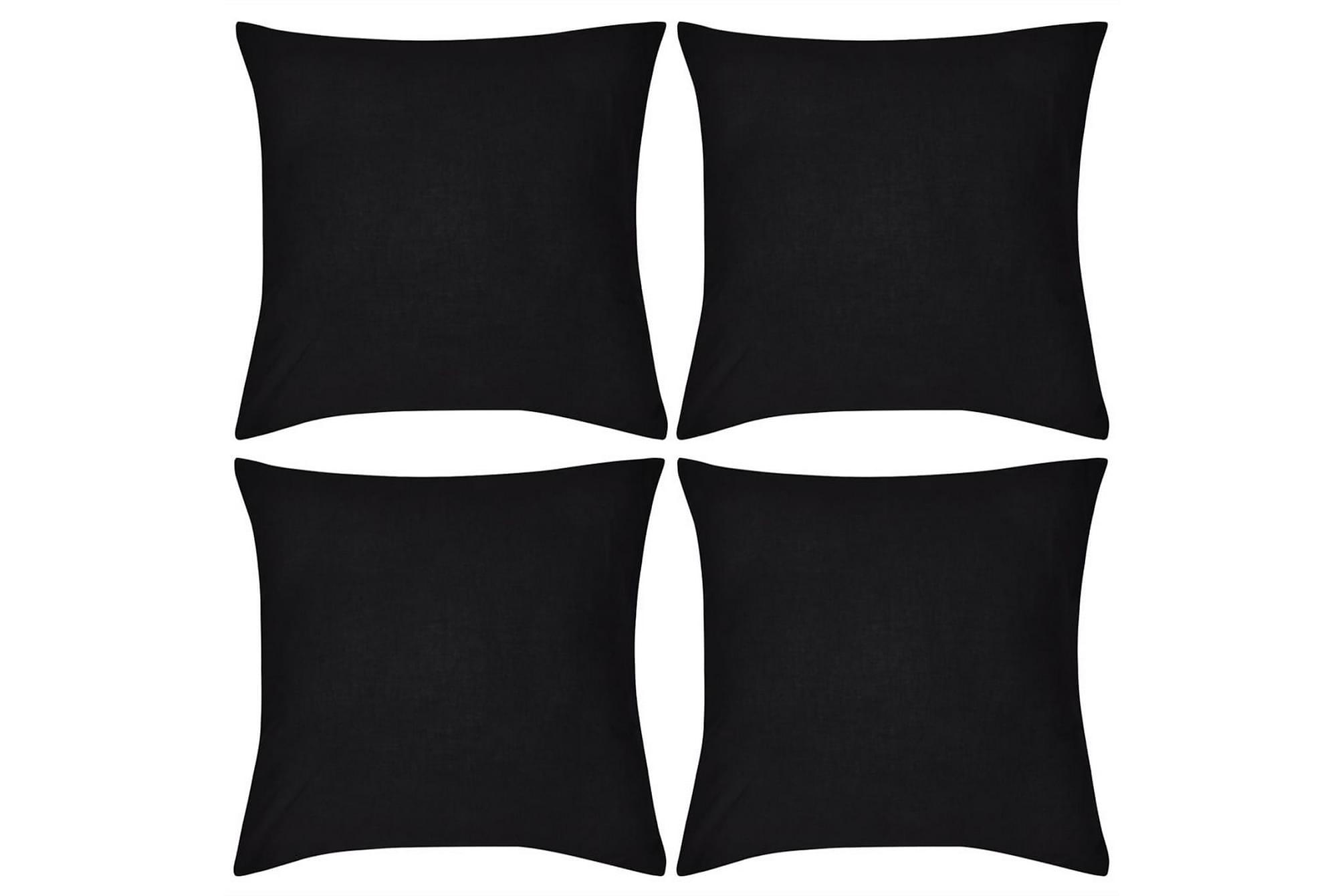 4 Kuddöverdrag i bomull svarta 80 x 80 cm, Prydnadskuddar & filtar