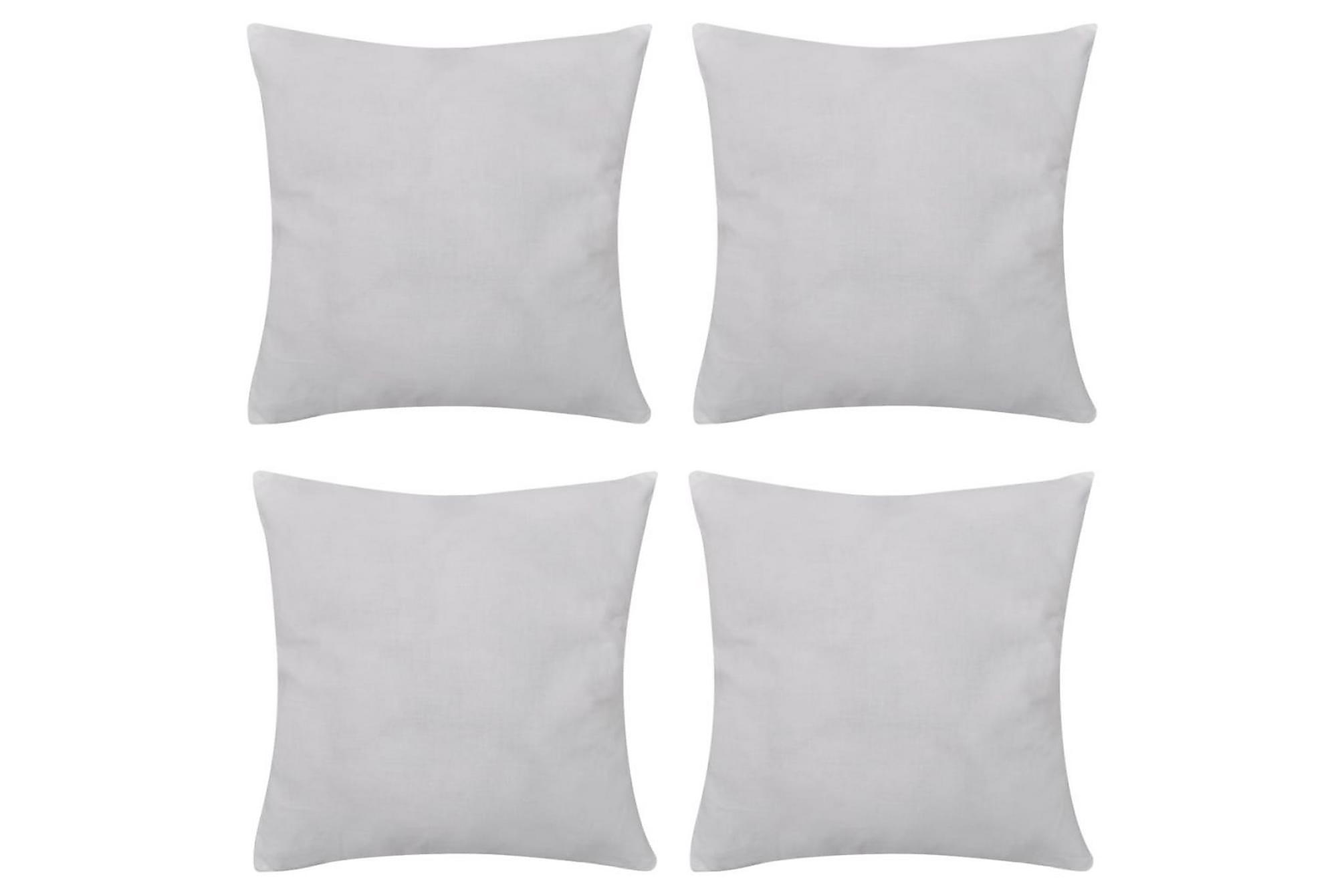 4 Kuddöverdrag i bomull vita 80 x 80 cm, Prydnadskuddar & filtar
