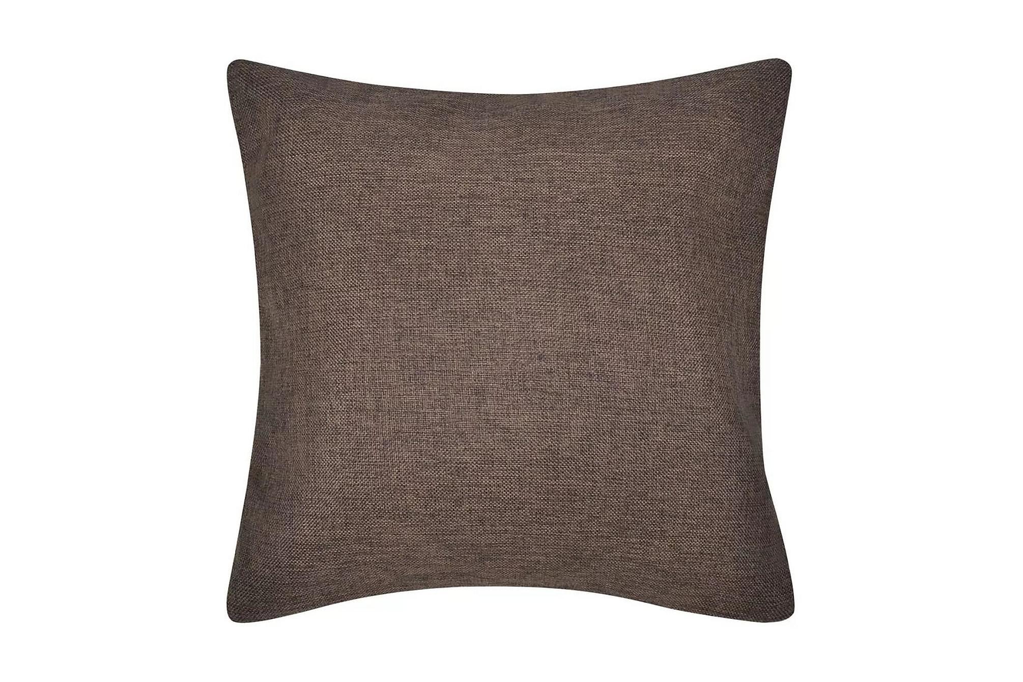 4 Kuddöverdrag i linnelook bruna 40 x 40 cm, Prydnadskuddar & filtar