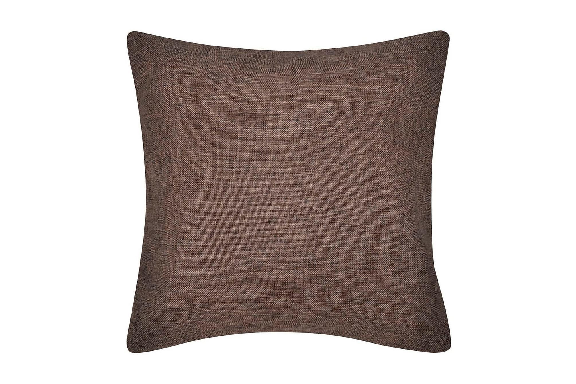 4 Kuddöverdrag i linnelook bruna 50 x 50 cm, Prydnadskuddar & filtar