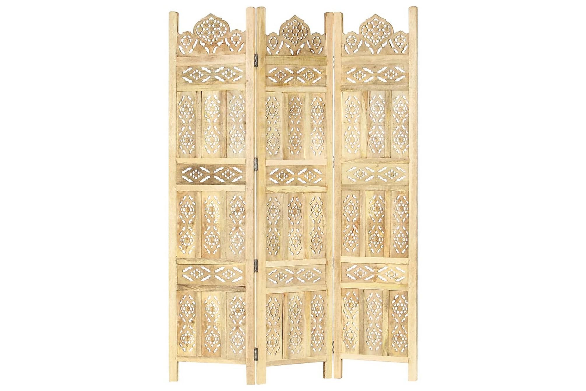 Rumsavdelare 3 paneler handsnidad 120x165cm massivt mangoträ