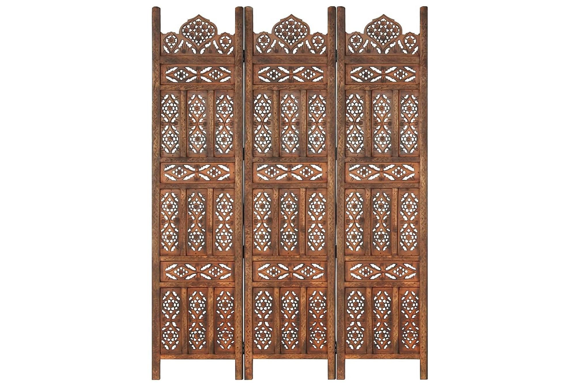 Rumsavdelare 3 paneler handsnidad brun 120×165 cm mangoträ