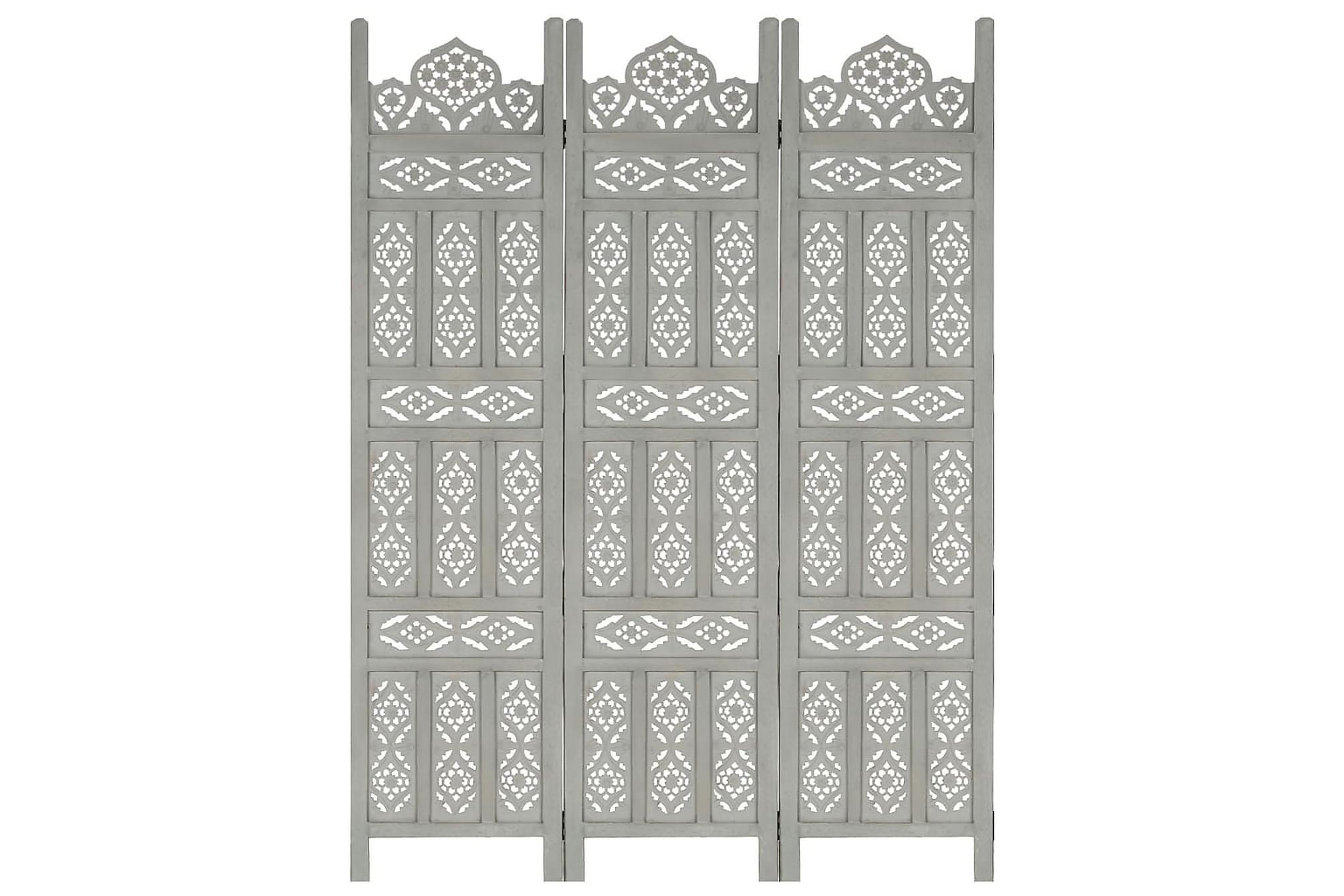 Rumsavdelare 3 paneler handsnidad grå 120×165 cm mangoträ