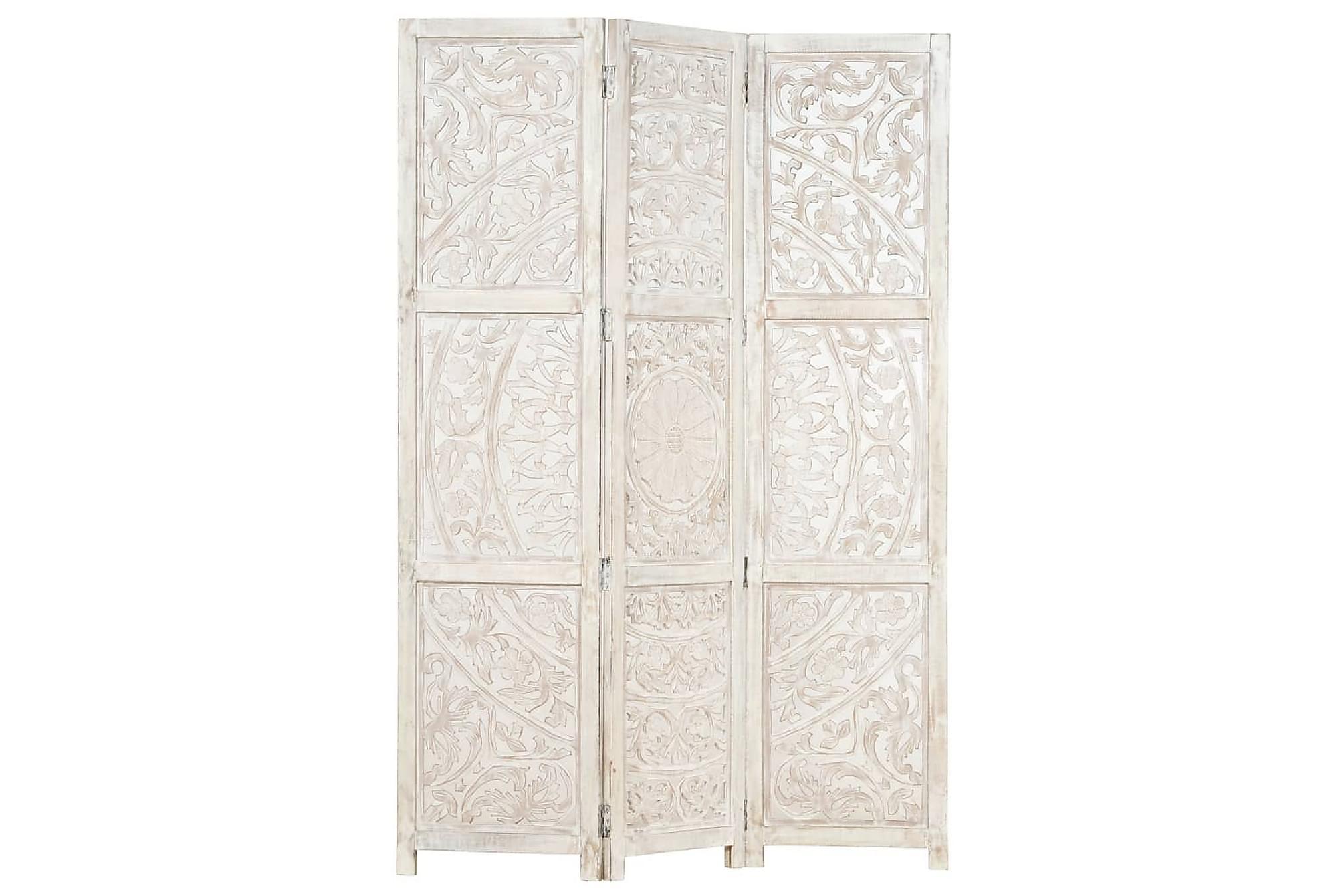 Rumsavdelare 3 paneler handsnidad vit 120×165 cm mangoträ