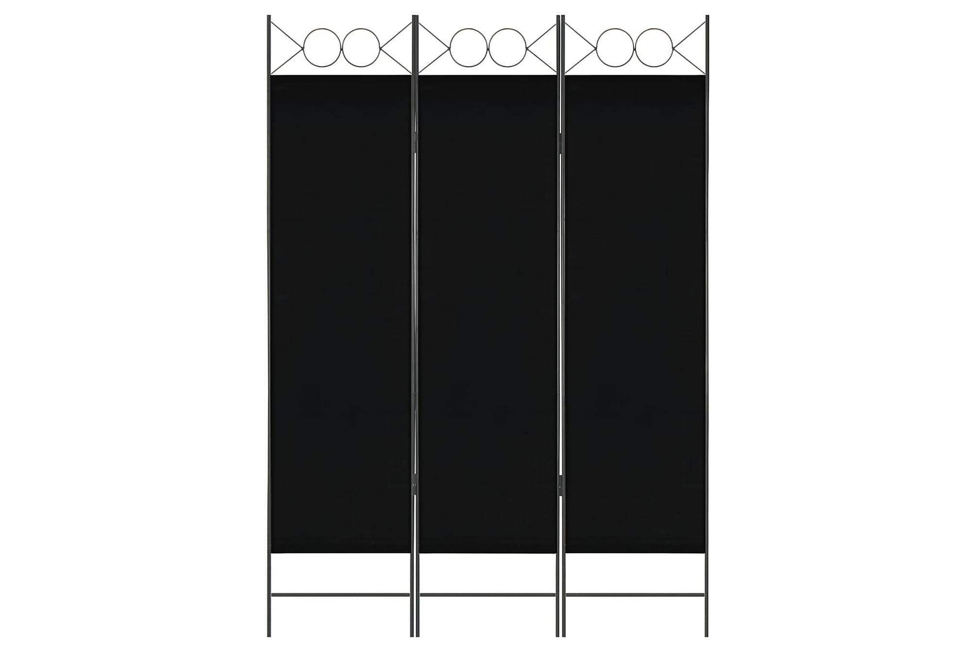 Rumsavdelare 3 paneler svart 120×180 cm