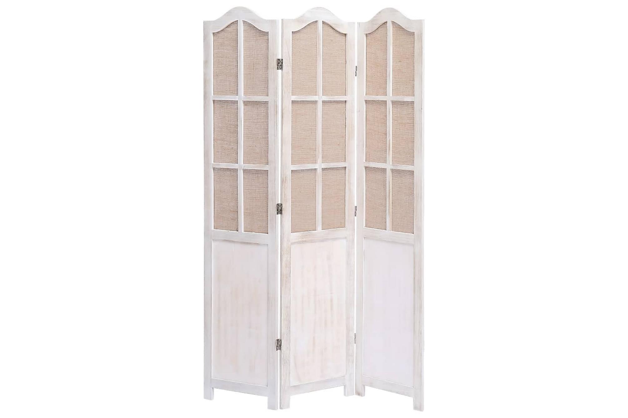 Rumsavdelare 3 paneler vit 105×165 cm tyg