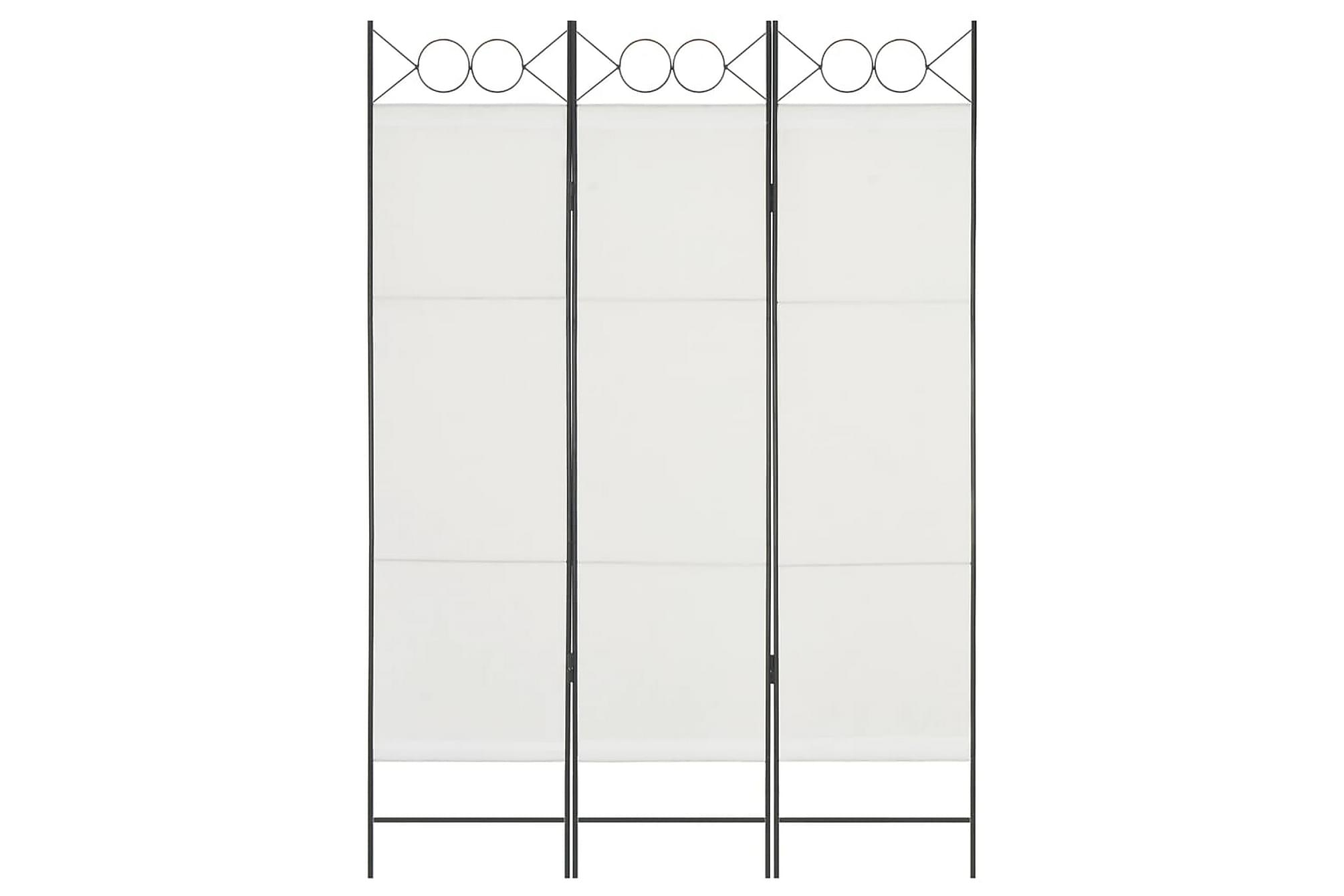 Rumsavdelare 3 paneler vit 120×180 cm