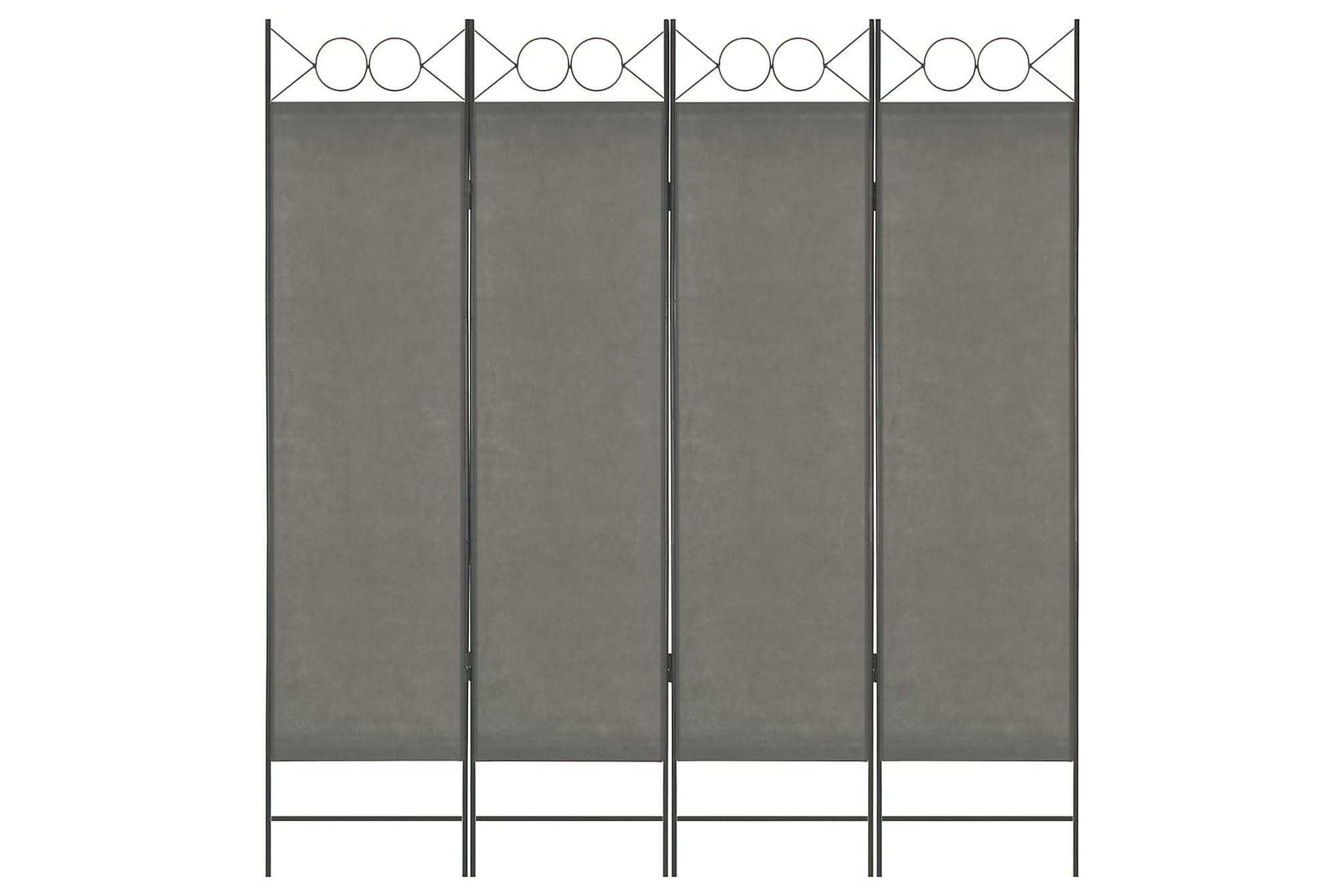 Rumsavdelare 4 paneler antracit 160×180 cm