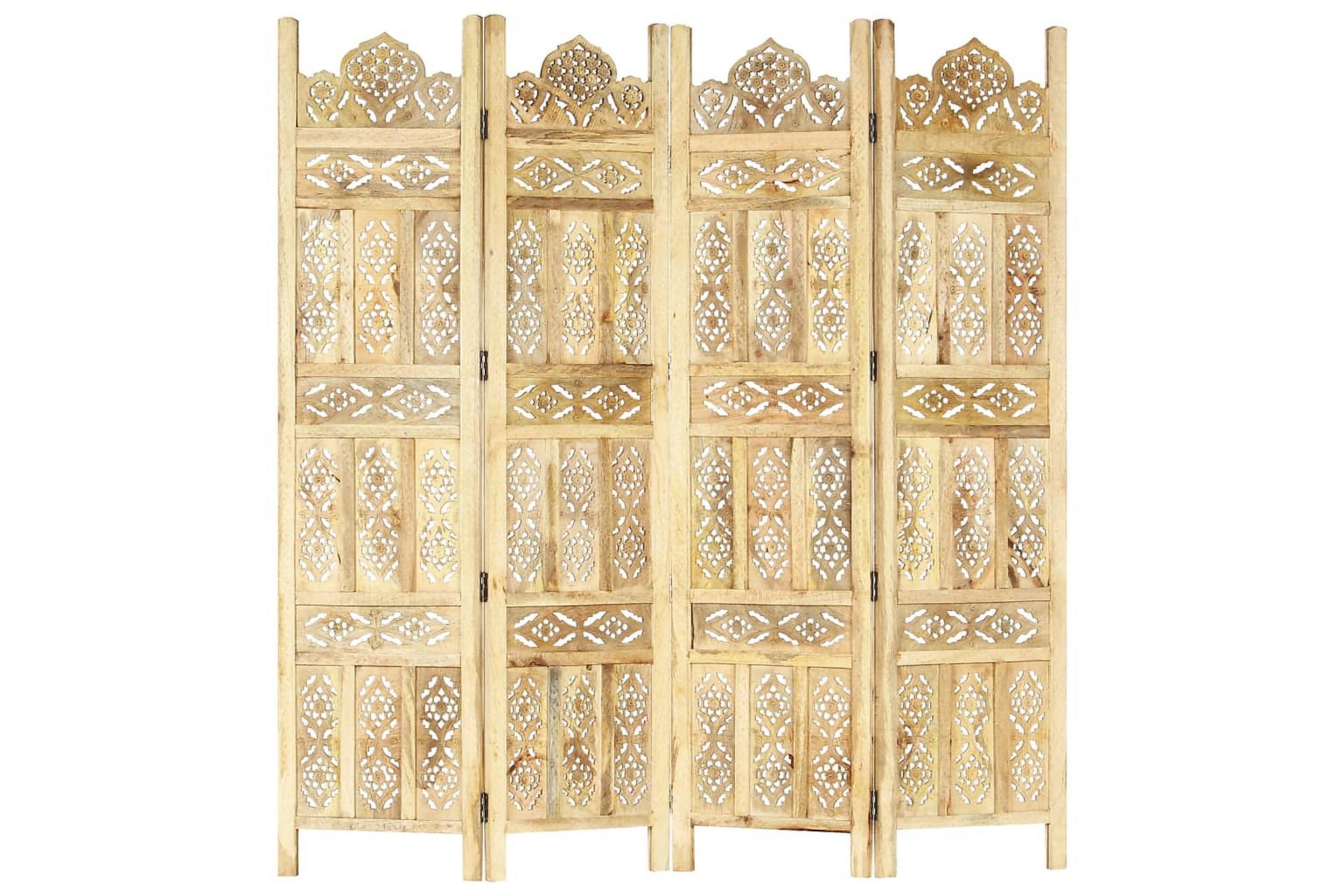 Rumsavdelare 4 paneler handsnidad 160x165cm massivt mangoträ