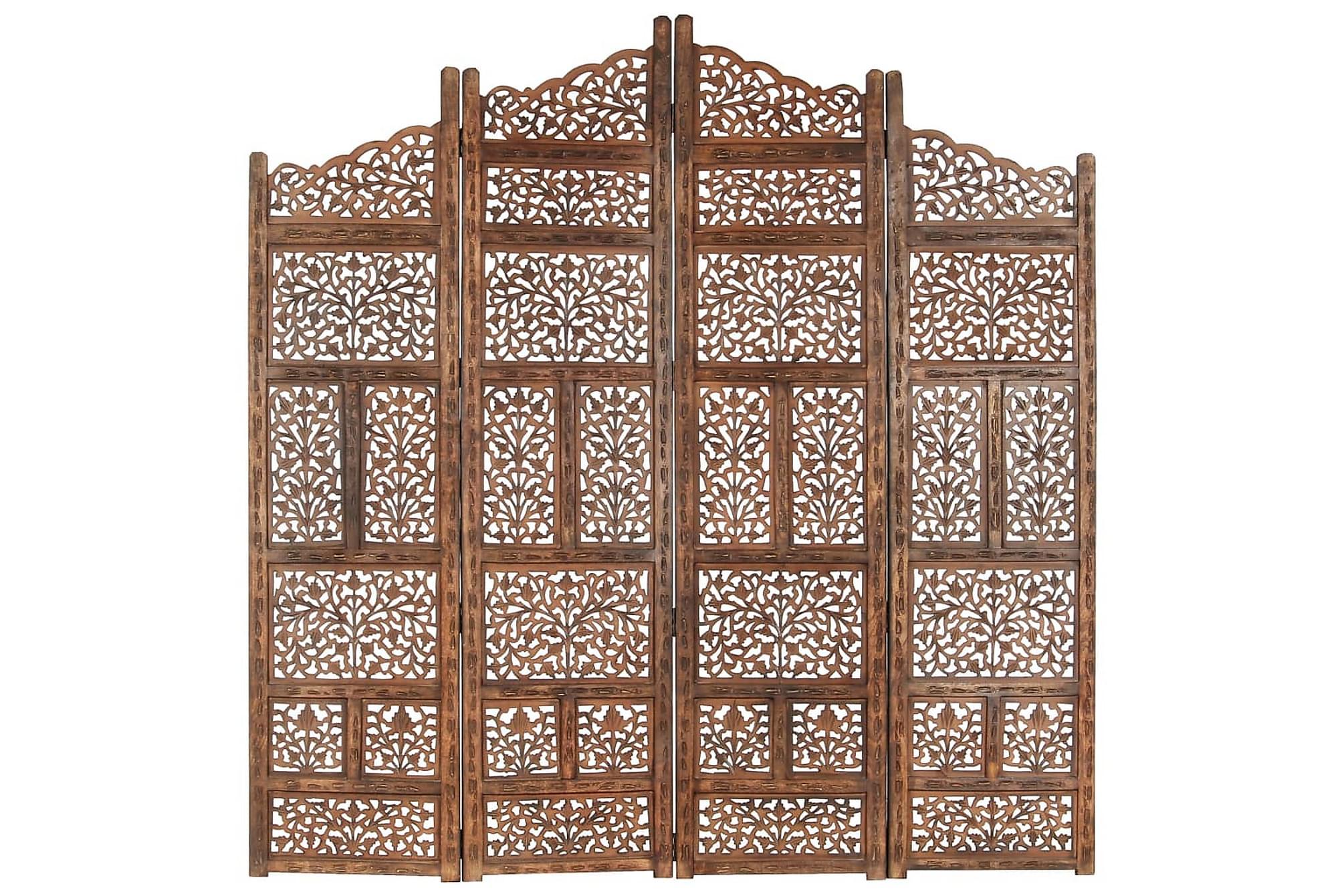 Rumsavdelare 4 paneler handsnidad brun 160×165 cm mangoträ