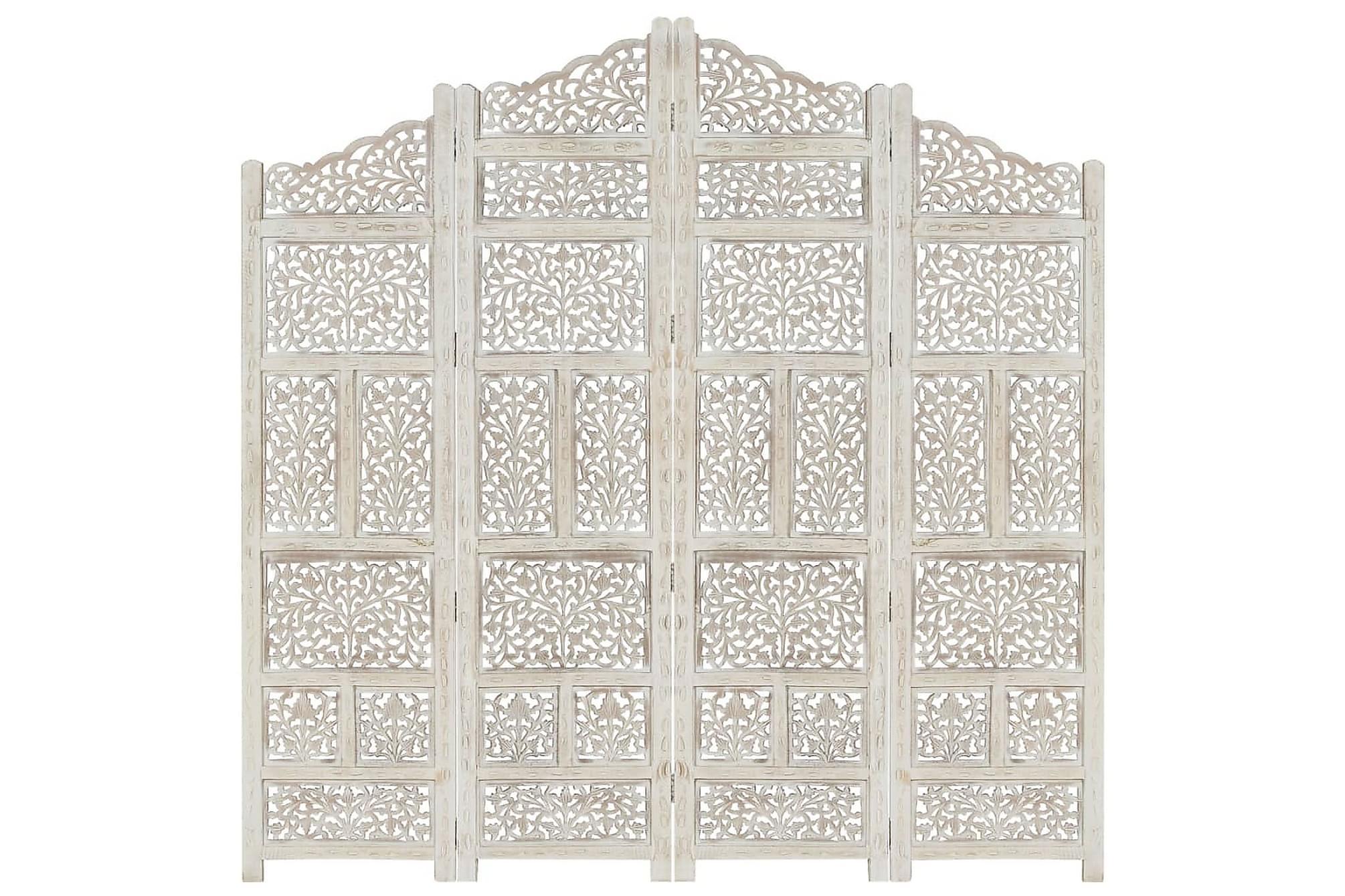 Rumsavdelare 4 paneler handsnidad vit 160×165 cm mangoträ