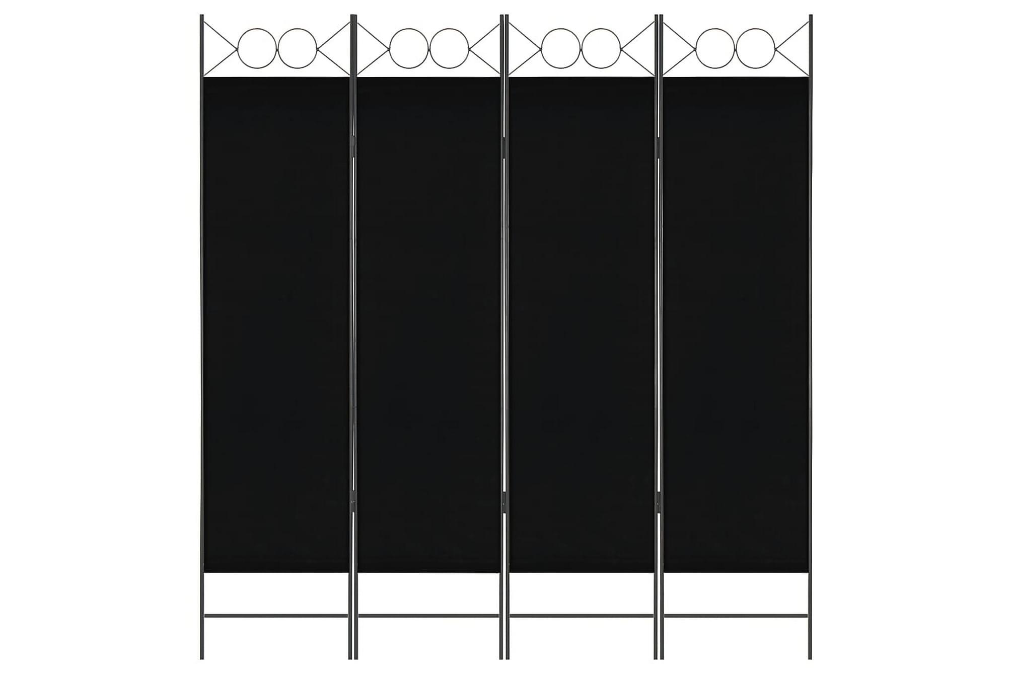 Rumsavdelare 4 paneler svart 160×180 cm