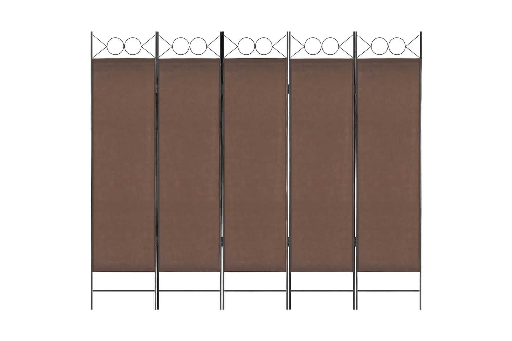 Rumsavdelare 5 paneler brun 200×180 cm