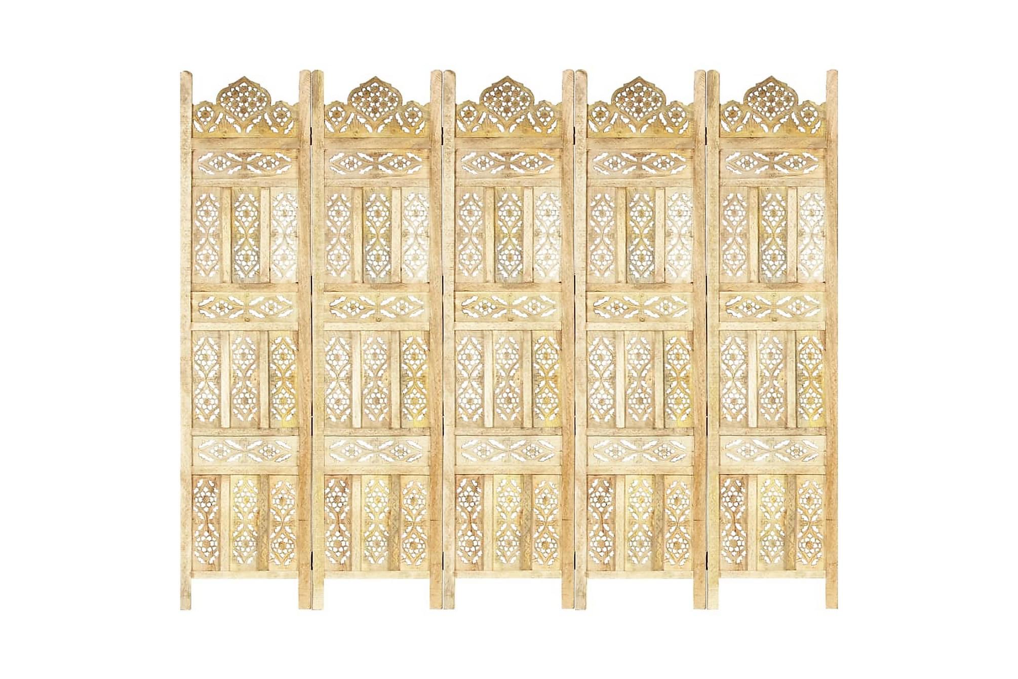 Rumsavdelare 5 paneler handsnidad 200x165cm massivt mangoträ