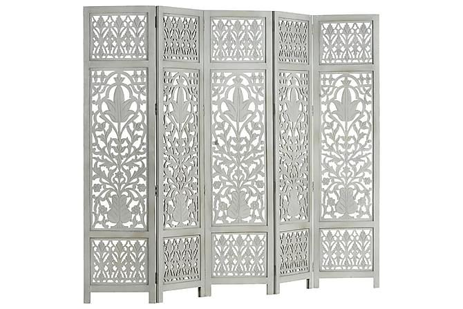 Rumsavdelare 5 paneler handsnidad grå 200x165 cm mangoträ - Grå - Möbler & Inredning - Inredning - Rumsavdelare