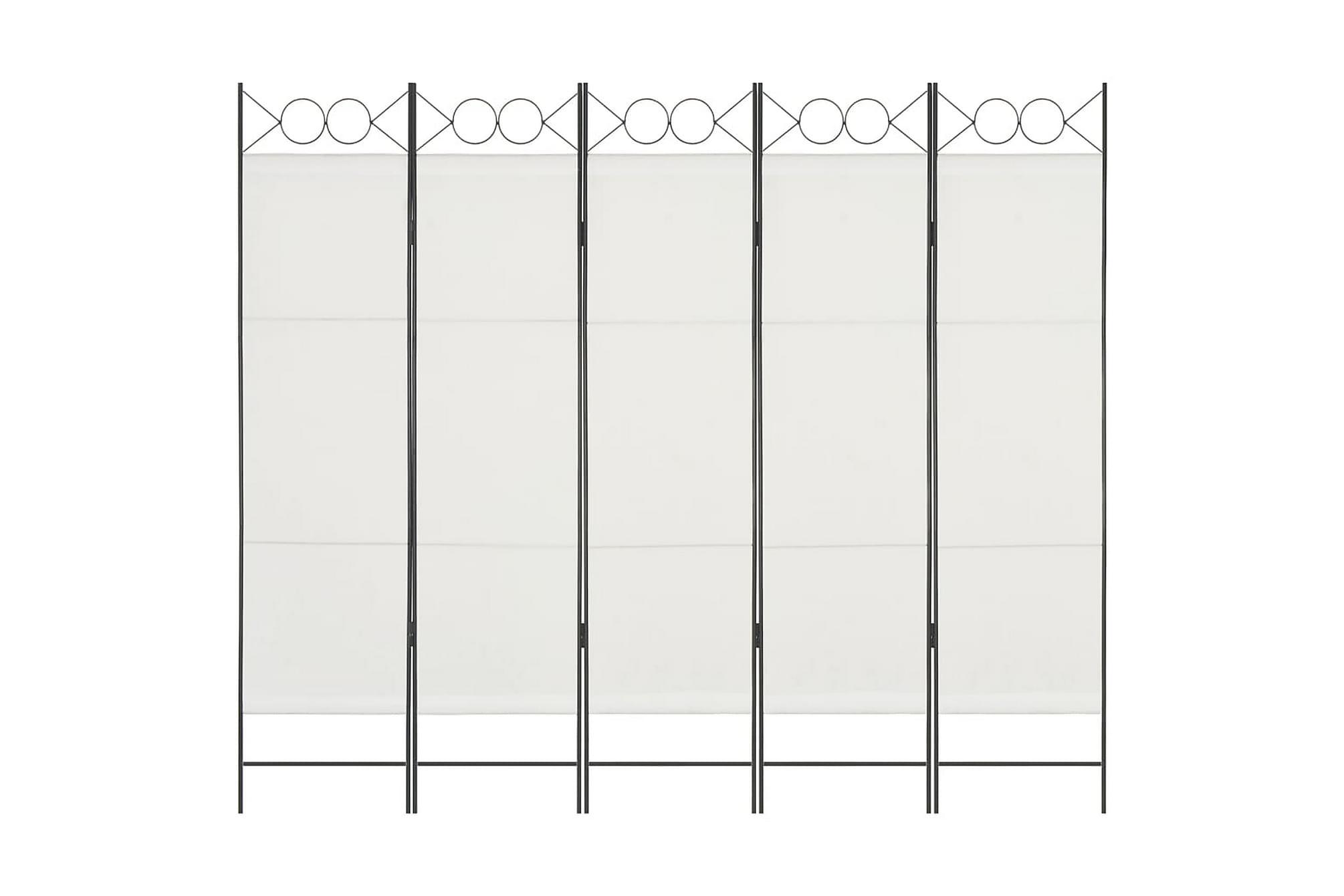 Rumsavdelare 5 paneler vit 200×180 cm