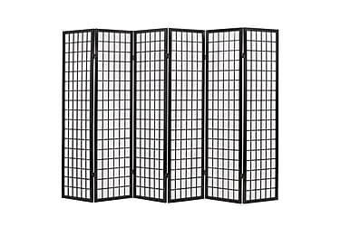Rumsavdelare med 6 paneler japansk stil 240x170 cm svart