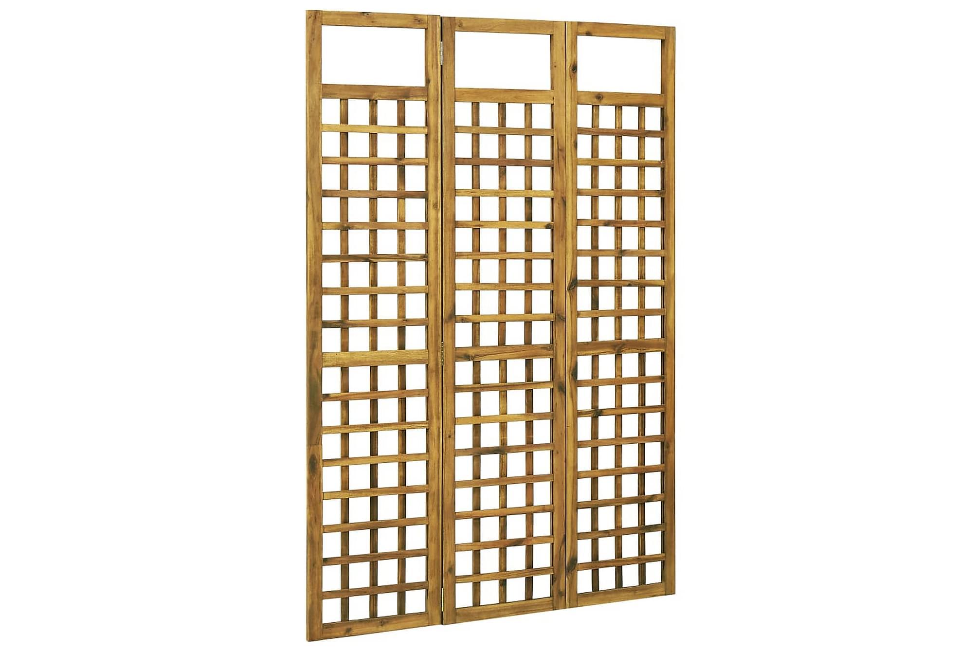 Rumsavdelare/Spaljé 3 paneler massivt akaciaträ 120×170 cm