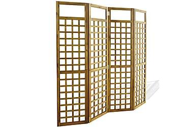 RUMSAVDELARE/SPALJÉ 4 paneler massivt akaciaträ 160x170 cm