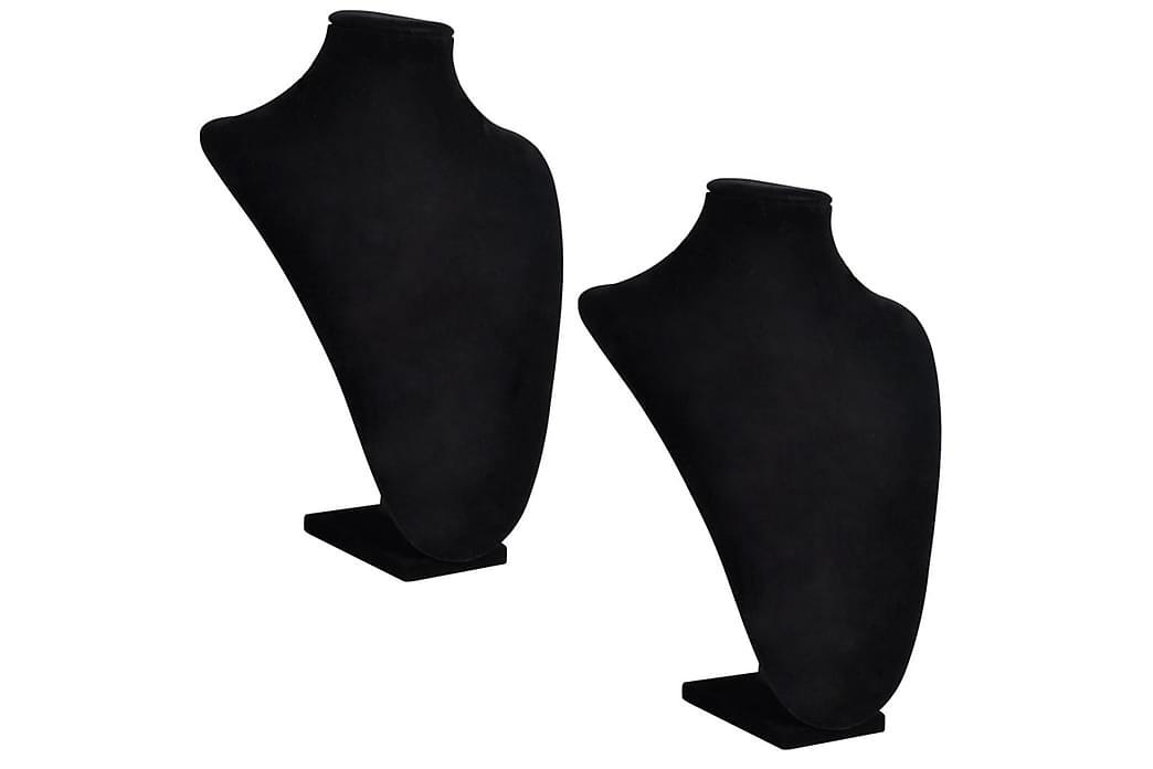 Halsbandsbyst 2 st 23 x 11,5 x 30 cm svart - Svart - Möbler & Inredning - Inredning - Småförvaring