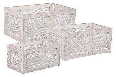 LEANDER Låda 50 Set om 3 Trä/Metall