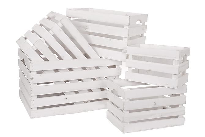MARGONE Trälåda 53 Set om 5 Vit - Inomhus - Inredning - Småförvaring