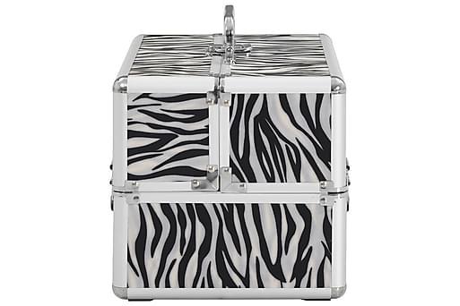 Sminklåda 22x30x21 cm zebraränder aluminium, Småförvaring