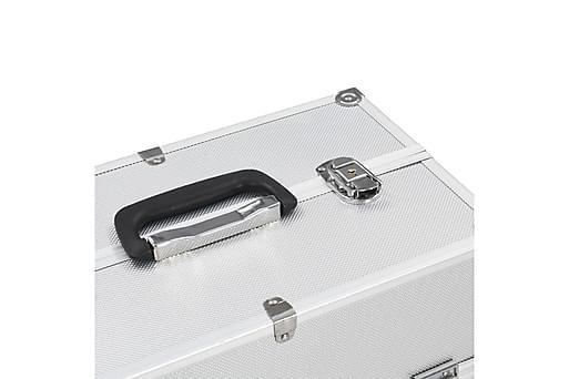 Sminklåda 37x24x35 cm silver aluminium, Småförvaring