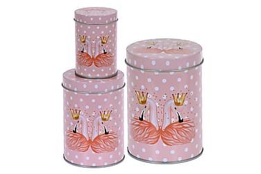 TALITA Burk Flamingo Rund Prickig Set om 3 Rosa
