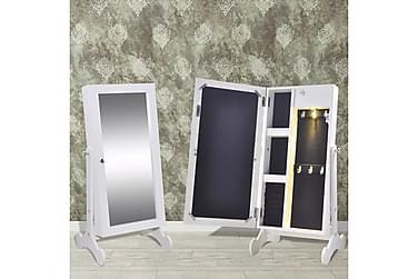 ADRIENE Smyckesskåp med Spegel LED Vit