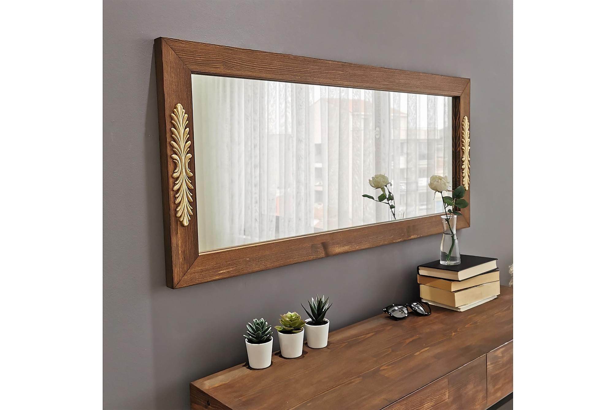 AONESTY Dekorationsspegel 110 cm Valnöt, Speglar