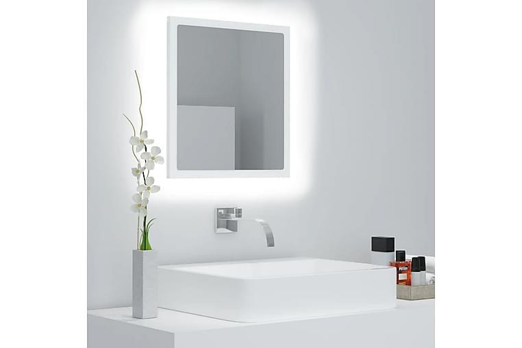 Badrumsspegel med LED vit 40x8,5x37 cm spånskiva - Vit - Möbler & Inredning - Inredning - Speglar