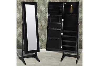 Fristående smyckesskåp med spegel och LED-lampa svart