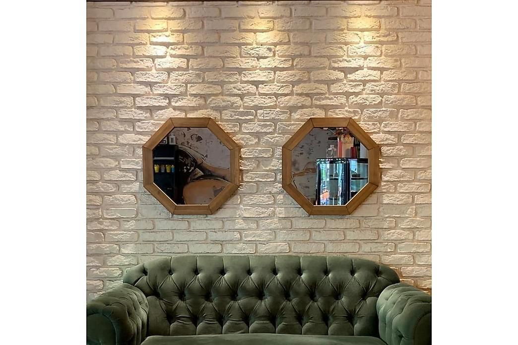 SASSON Spegelset Två Delar 60 cm Valnöt - Möbler & Inredning - Inredning - Speglar
