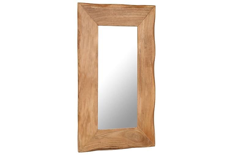 Sminkspegel 50x80 cm massivt akaciaträ - Brun - Möbler & Inredning - Inredning - Speglar