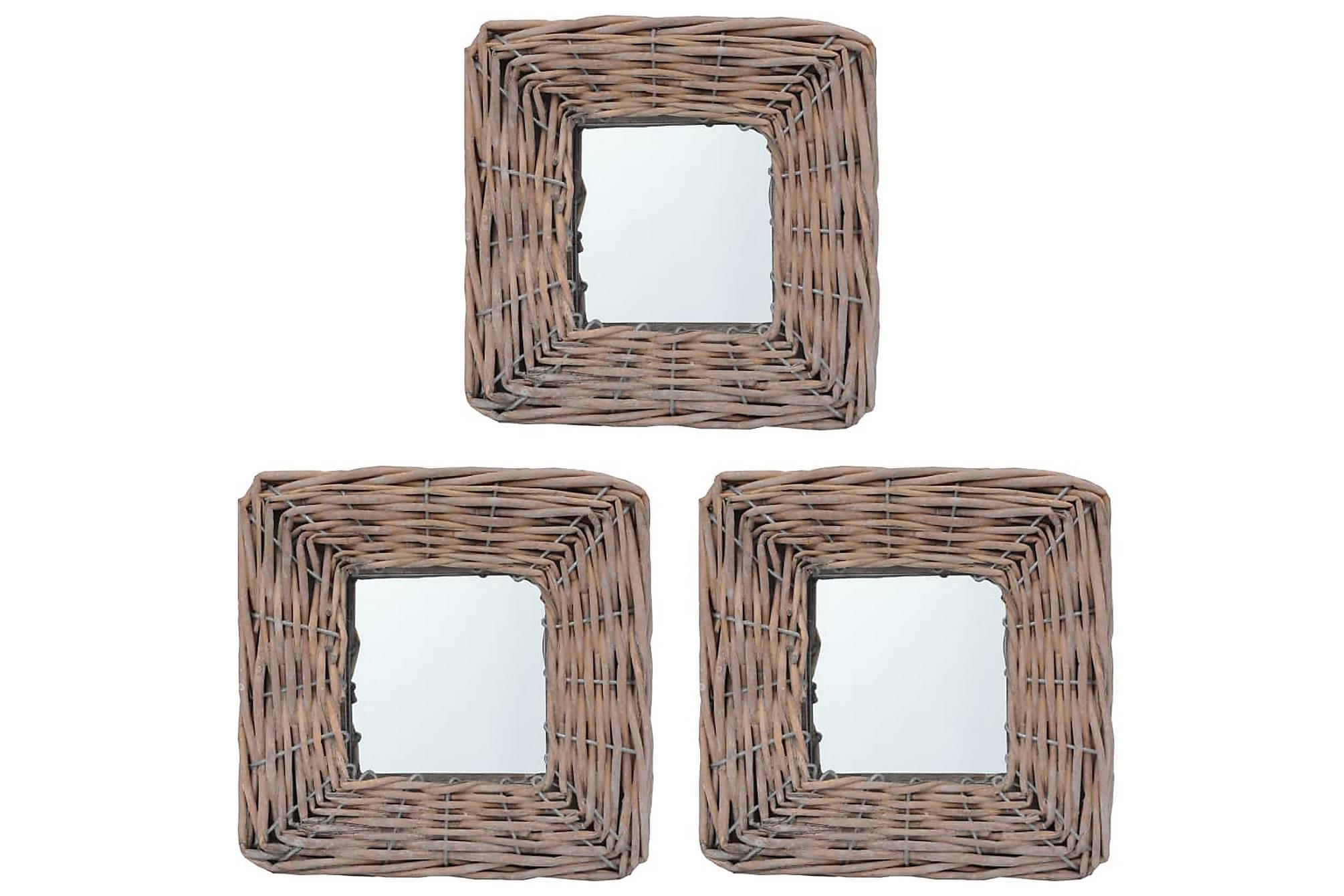 Spegel 3 st 15x15 cm korgmaterial