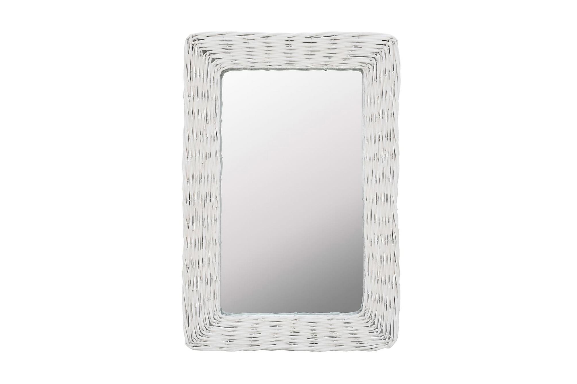 Spegel i korgmaterial 40x60 cm vit